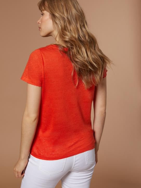 Damen T-Shirt aus Leinen Blau+Blond+Orange+Weiß