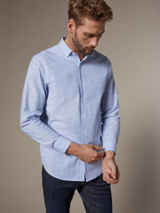 Herren Regular Fit Hemd Blau/Weiß
