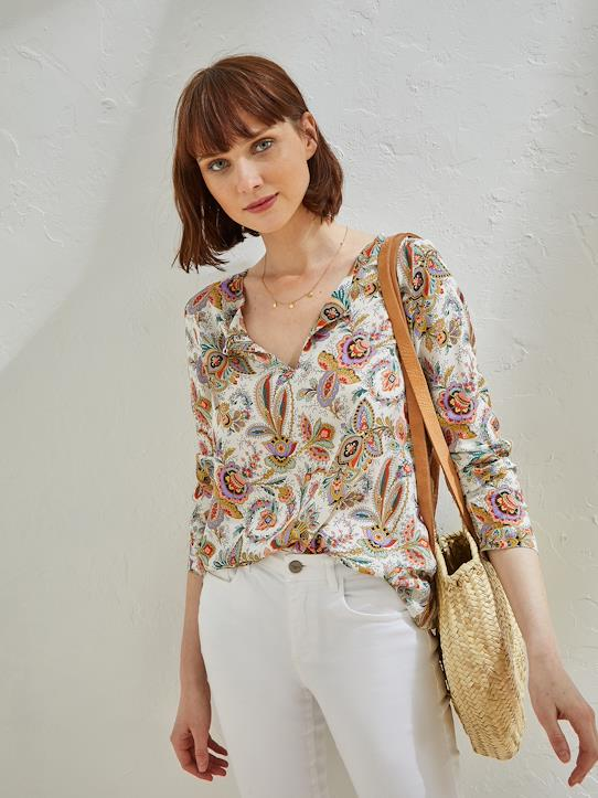 Sonnige Trends-Damenbluse aus Liberty-Stoff