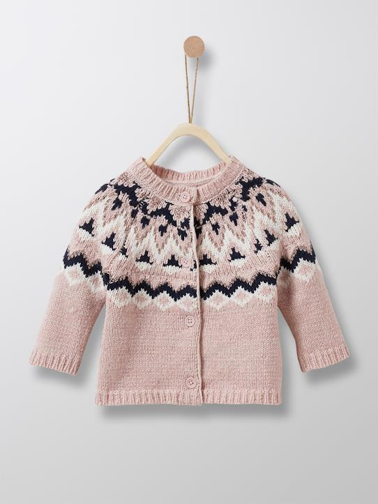 Babys-Mädchen-Baby-Cardigan mit Jacquard-Muster