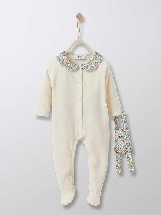 Velours-Babys-Baby-Strampler, Velours und Liberty®-Stoff