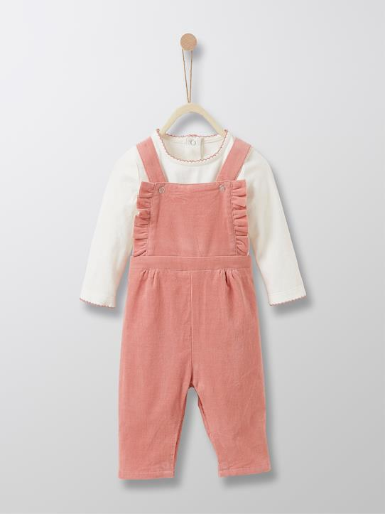 Velours-Set: Baby-Shirt + Latzhose, Velours