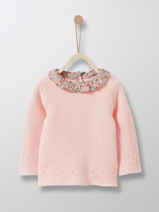 Lovely baby-Baby-Pullover, Kragen aus Liberty®-Stoff
