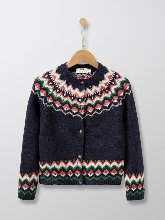 sale-Mädchen-Cardigan mit Jacquard-Muster
