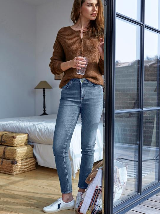 Damen Slim Fit Jeans in 7/8-Länge, perfekt Stone, hell