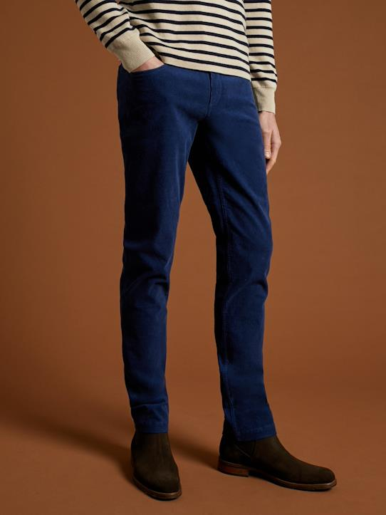 Velours-Herren Slim Fit Hose aus Velours