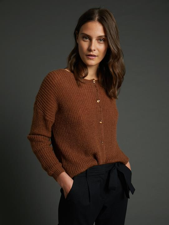 Pullis & Strickjacken-Gerippter Damen-Cardigan