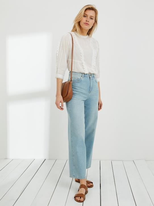 Cropped Damen-Jeans : Der Wide Leg Fit Bleached