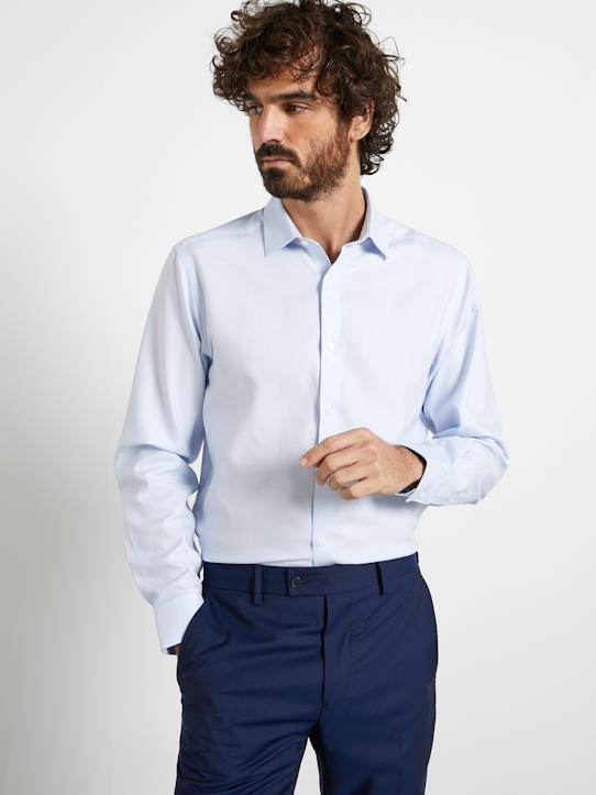 Herren-Hemden-Einfarbiges Regular Fit Herrenhemd aus Twill, bügelfrei