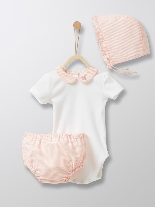 sale-Babys-Baby-Set: Body + Bloomer + Haube