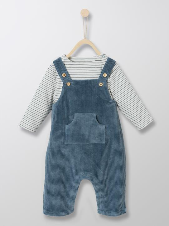 Black Friday-Babys-Baby-Set: Latzhose aus Velours + Marine-Shirt