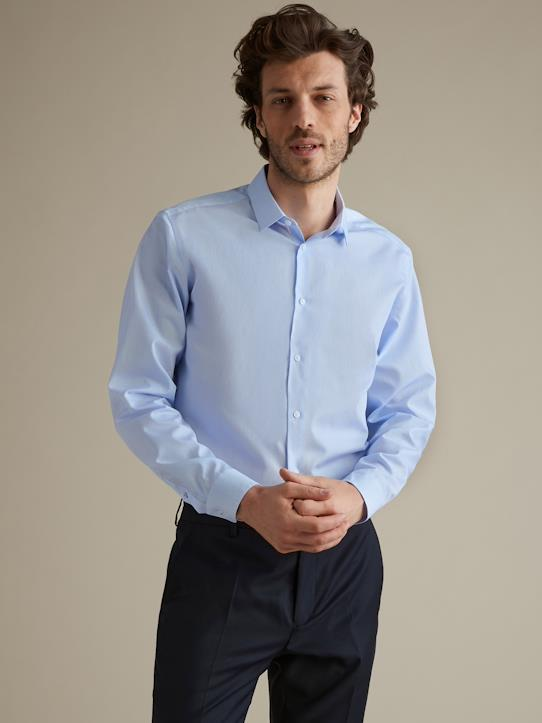 Slim Fit Herrenhemd mit kleinem Motiv, Easy Care Himmelblau/Weiß