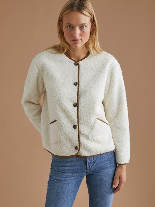 Exklusiver Strick-Damen-Pullover, Strickjacken-Damen-Cardigan aus Sherpa-Fleece