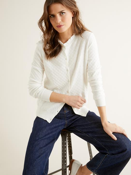 Damen-Pullover, Strickjacken-Damen-Cardigan mit Volants am Kragen